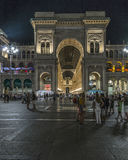 Milan Luxuous shopping mall. Night shot of the hall of the landmark arcade or covered mall, Galleria Vittorio Emanuele II in Milan, Italy Stock Image