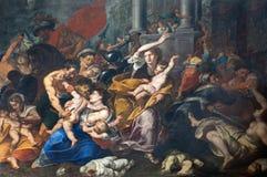 Milan - målarfärgen av massakern av oskyldigen från den San Eustorgio kyrkan av den Giovan Cristoforo storeren (1610 - 1671) Royaltyfri Foto