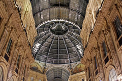 Galleria Vittorio Emanuele II. Domed rooftop of Galleria Vittorio Emanuele II illuminated at night, Milan, Lombardy, Italy Stock Photo