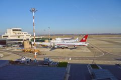 Milan-Malpensa airport. MILAN MALPENSA, ITALY - CIRCA NOVEMBER, 2017: view from Milan-Malpensa airport, Terminal 1 Stock Photo