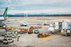 Milan Malpensa Airport. MALPENSA, MILANO, ITALY - JANUARY 20, 2015: View of Milan Malpensa Airport. It is the biggest airport for Milan area, Italy Royalty Free Stock Photos