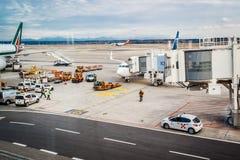 Milan Malpensa Airport. MALPENSA, MILANO, ITALY - JANUARY 20, 2015: Milan Malpensa Airport. It is the biggest airport for Milan area, Italy Stock Images
