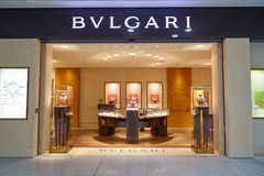 Malpensa Airport. MILAN MALPENSA, ITALY - CIRCA NOVEMBER, 2017: Bulgari shop in Milan-Malpensa airport. Bulgari is an Italian jewelry and luxury goods brand Royalty Free Stock Photo