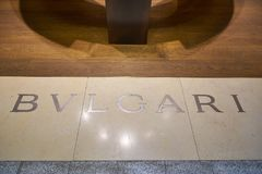 Malpensa Airport. MILAN MALPENSA, ITALY - CIRCA NOVEMBER, 2017: close up shot of BVLGARI sign. Bulgari is an Italian jewelry and luxury goods brand Stock Image