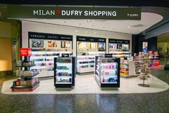 Malpensa Airport. MILAN MALPENSA, ITALY - CIRCA NOVEMBER, 2017: goods on display at Milan-Malpensa airport Royalty Free Stock Photo