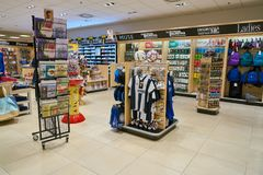 Malpensa Airport. MILAN MALPENSA, ITALY - CIRCA NOVEMBER, 2017: inside a Hudson News store at Milan-Malpensa Airport. Hudson Group, one of the largest travel Royalty Free Stock Images