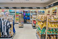 Malpensa Airport. MILAN MALPENSA, ITALY - CIRCA NOVEMBER, 2017: inside a Hudson News store at Milan-Malpensa Airport. Hudson Group, one of the largest travel Royalty Free Stock Image