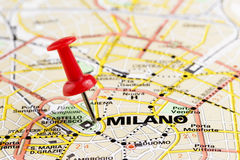 Milan on the map Stock Photo