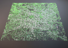 Milan map, satellite view, expo Royalty Free Stock Images