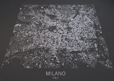Milan map, satellite view, map in negative, Italy Royalty Free Stock Photography