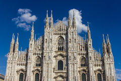 The Milan marble cathedral under blue sky Stock Image