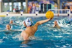 MILAN, MARCH, 3:  Leonardo Binchi    ( Bpm Sport Management ) sh. Ooting the ball in game BPM Sport Management - Rari Nantes Sori -Italian Water Polo League   on Royalty Free Stock Images