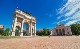 Milan, Lombardy Lombardia region, Italy. Milan - May of 2014, Lombardy Lombardia region, Italy: Arco della Pace, The Arch of Peace in Milan Royalty Free Stock Images