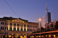 Milan -Meson Moschino Hotel and new skyscraper Stock Photo