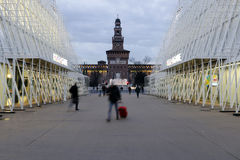 Milan,milano,castle square view and expogate Royalty Free Stock Photos