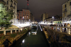 Milan milano expo2015 navigliområde Arkivfoton