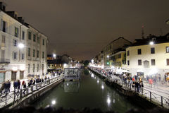 Milan,milano expo2015 night navigli district Royalty Free Stock Photo