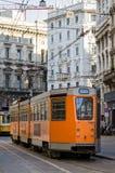 Milan (Milano), gammal spårvagn royaltyfri fotografi
