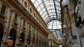 Milan, (Milano) Italy. Inside Galleria Vittorio Emanuele II. This arcade is from its opening in 1877 on of the oldest shopping malls in Europe stock footage