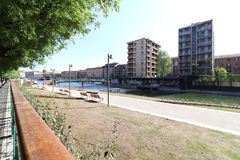Milan,milano the navigli district,the city harbour called darsena Royalty Free Stock Images