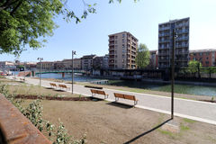 Milan,milano the navigli district,the city harbour called darsena Stock Photography