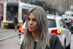 Milan milano, vinter 2015 2016 för höst för kvinnamodevecka Royaltyfria Bilder