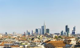 Milan modern and old architecture cityscape. stock photos