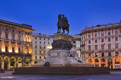 Milan Mounted Statue sunrise Royalty Free Stock Photography