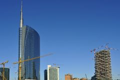 Milan new skyscrapers under construction Royalty Free Stock Images