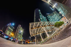 Milan by night - Gae Aulenti entrance Royalty Free Stock Photos