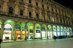 Milan during night- shopping gallery Royalty Free Stock Images
