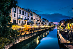 Milan nightlife in Navigli.italy. Night life zone. restaurants. river. atmosphere Royalty Free Stock Images