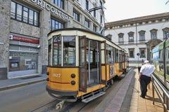 Milan Orange Cable Car Stockfotos