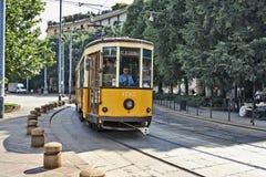 Milan Orange Cable Car Stockbild