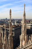 Milan, panoramic view from cathedral of Duomo Stock Photos