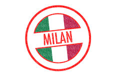 MILAN. Passport-style MILAN rubber stamp over a white background Royalty Free Stock Image
