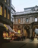 Milan perspektivisk förkortningnatt Royaltyfri Foto