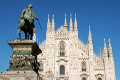 Milan Piazza del Duomo. Gothic facade of Milan Cathedral in Piazza del Duomo. It is the fourth largest church in the world. The construction started in 1386 and royalty free stock images