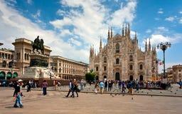 Milan Pizza Duomo Italy-de zomer Stock Foto's