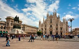 Milan Pizza Duomo Italy sommar Arkivfoton