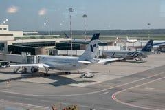Milan: the  plane in  Malpensa airport. Milan, a view of hub plane -in  Malpensa airport Royalty Free Stock Image
