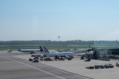Milan: the  plane in  Malpensa airport. Milan, a view of hub plane -in  Malpensa airport Stock Photos