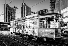 Milan Porta Garibaldi district. Typical tram in milan. Royalty Free Stock Photo