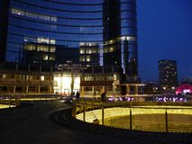 Milan Porta Nuova new business centre by night. Stock Images