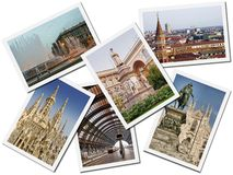 Milan Postcards. A collage made of different postcards of the Milan city in Italy, isolated on white background Stock Photo