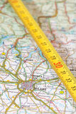 Milan roadmap. Photo of road map of milan with measuring stick Royalty Free Stock Photography