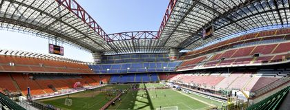 San siro stadium, in Milan. Milan San siro stadium in a wide angle lens, one of most famous football stadium in the world royalty free stock photography