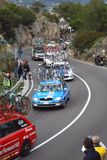 Milan-Sanremo Cycle Race 2008. Some cars assistance in the famous and international cycle race Milano-Sanremo 99° edition during the slope of Capo Berta near Royalty Free Stock Image