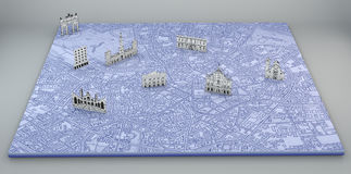 Milan, satellite view, map and monuments drawn by hand Royalty Free Stock Photo