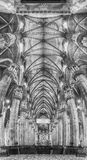 Panoramic view inside the gothic Cathedral of Milan, Italy Stock Image